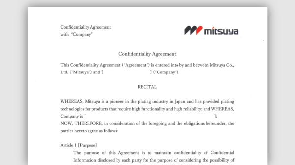 Confidentiality Agreement  Industrial Plating Services  Mitsuya Co